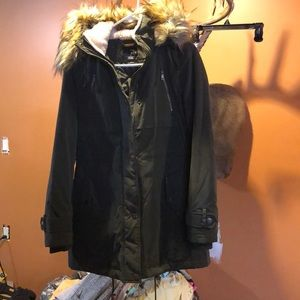 Jackets & Blazers - Olive Green Puff Jacket with Fur Hood